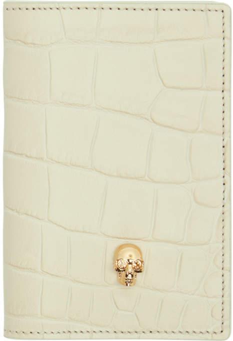 Alexander McQueen Off-White Croc Skull Pocket Organizer