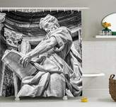 Sculptures Decor Shower Curtain Set By Ambesonne, Statue Of St. Matthew At The Basilica Of St. John Lateran In Rome Cthedra With Pillars, Bathroom Accessories, 69W X 70L Inches, Light Grey