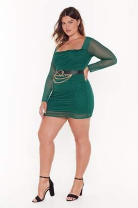 Nasty Gal Womens On Our Mesh Behaviour Plus Mini Dress - Green - 16