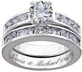 Sterling Silver 5.8ctw CZ 2-piece Engraved Wedding Ring Set