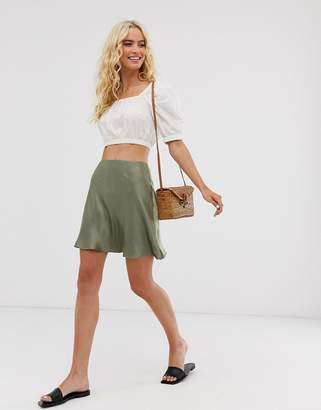 And other stories & satin mini skirt in sage green