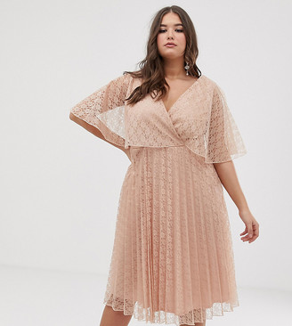 Asos DESIGN Curve flutter sleeve pleat and lace midi dress