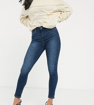 Vero Moda Petite skinny jeans with high waist in mid wash blue