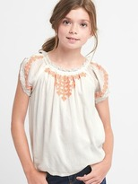 Embroidery short sleeve peasant top