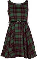Fashion Box Womens Sleeveless Belted Tartan Check Print Skater Flared Dress