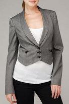 Stretch Herringbone Cropped Jacket