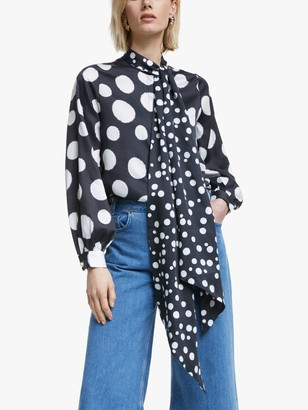 Mother of Pearl Tencel Spot Print Tie Neck Blouse, Navy
