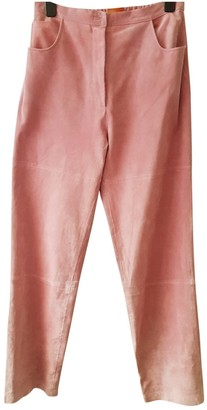 Dennis Basso Pink Leather Trousers for Women Vintage