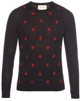 Gucci Long-sleeved Bee-intarsia Wool Sweater