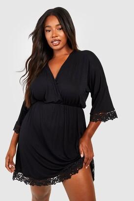 boohoo Plus Crochet Lace Trim Beach Dress