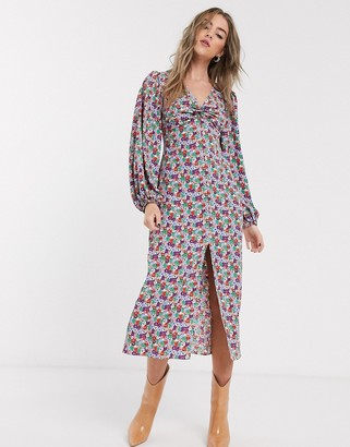 Topshop twist front midi dress in multicoloured floral