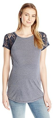 Three Seasons Maternity Women's Maternity Short Sleeve Lace Stripe Top with Keyhole Back