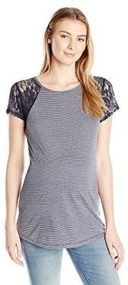 Three Seasons Maternity Women's Maternity Short Sleeve Lace Stripe Top with Keyhole Back