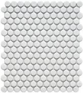 "EliteTile Retro 11.5"" x 9.75"" Penny Porcelain Mosaic Tile in Matte White"