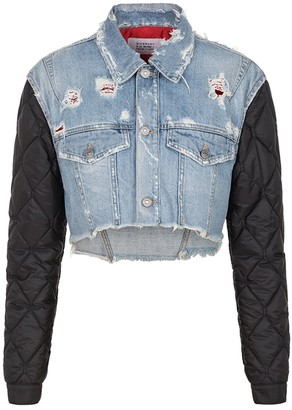 Givenchy Quilted Sleeve Cropped Denim Jacket