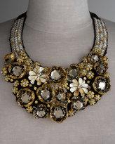 Black & Gold Flower Bib Necklace