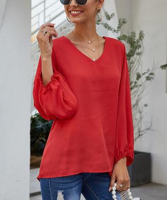 Coeur De Vague Coeur de Vague Women's Blouses Red - Red Puff-Sleeve V-Neck Top - Women