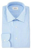 Neiman Marcus Gingham Long-Sleeve Dress Shirt, Blue
