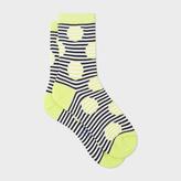 Paul Smith Women's Yellow And Navy Striped-Dot Socks