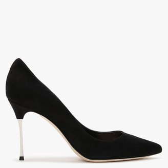 Sergio Rossi Godiva 90mm Black Suede Steel Heel Court Shoes
