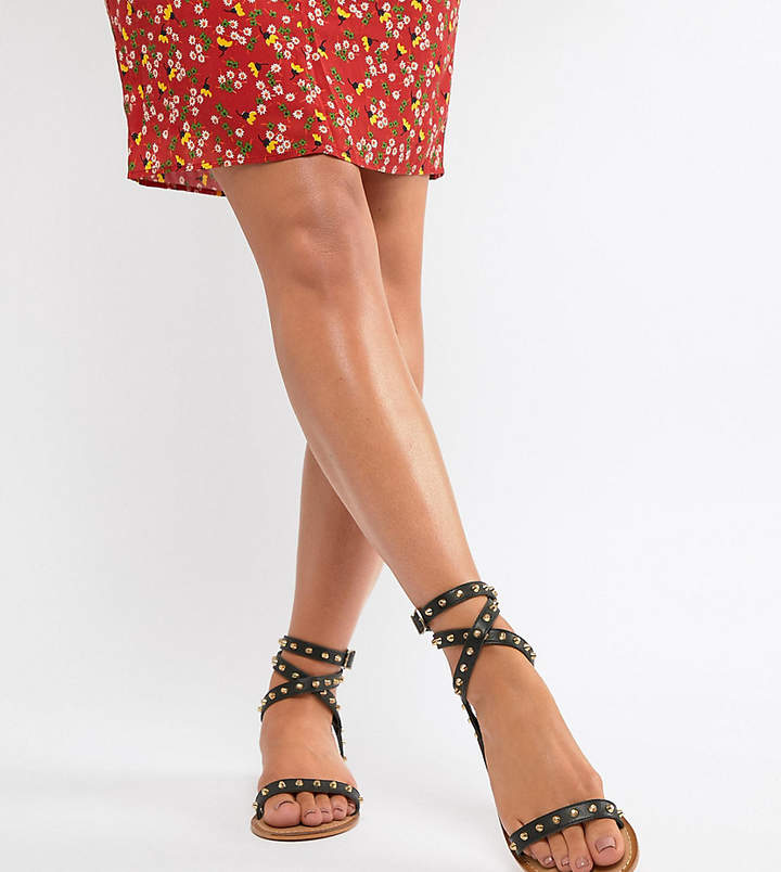 Asos Design Wide Fit Fion Studded Flat Sandals