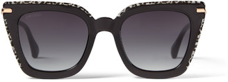 Jimmy Choo CIARA Black Sunglasses with Grey Shaded Lenses and Rose-Gold Temples