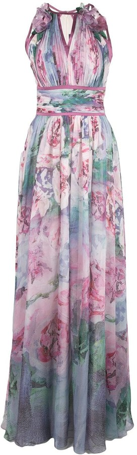 Marchesa floral printed chiffon gown