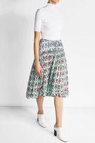 Jil Sander Navy Floral Print Crepe Midi Skirt