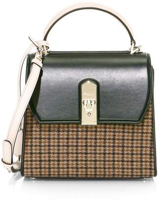 Salvatore Ferragamo Medium Boxyz Tweed & Leather Top Handle Bag