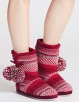 Marks and Spencer Fairisle Knit Slipper Boots