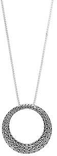 John Hardy Sterling Silver Classic Chain Large Round Pendant Necklace, 36