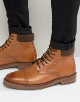 Asos Brogue Boots In Tan Leather With Cleated Sole