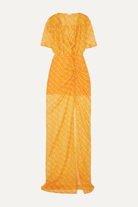 Eywasouls Malibu Elke Wrap-effect Ruched Printed Chiffon Maxi Dress - Orange
