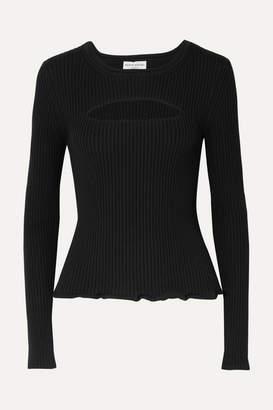 Sonia Rykiel Cutout Ribbed-knit Sweater - Black