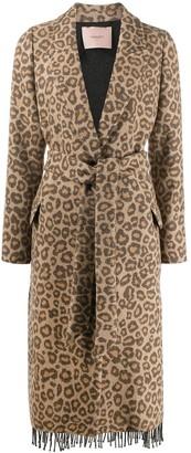 Twin-Set Leopard Print Belted Coat