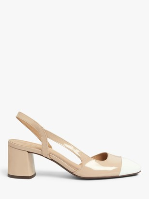 John Lewis & Partners Bonnie Leather Low Heel Slingback Court Shoes, Nude