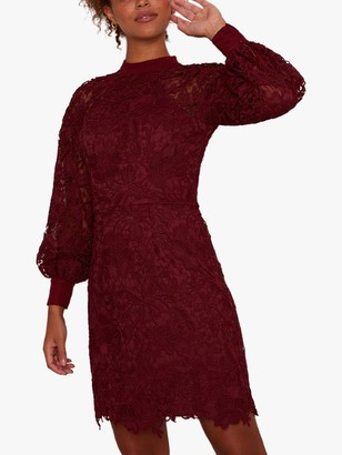 Chi Chi London Skya Lace Dress, Burgundy