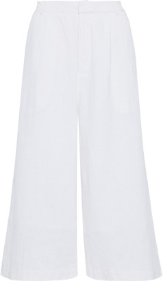 Sea Izzy Cropped Cotton And Linen-blend Wide-leg Pants