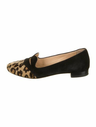 Charlotte Olympia Suede Animal Print Loafers