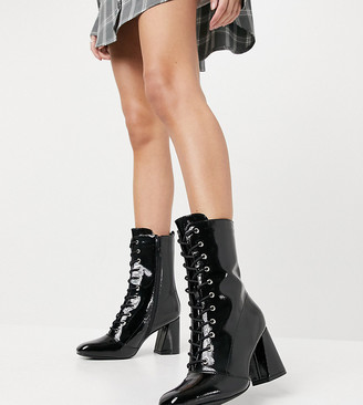 Glamorous Wide Fit lace up heeled ankle boots in black patent
