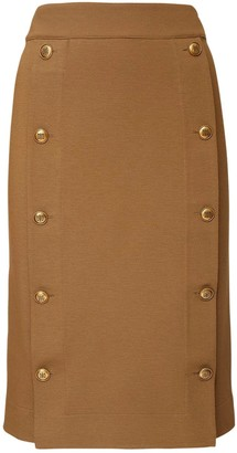 Givenchy High Waist Stretch Midi Skirt W/ Buttons