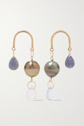 Melissa Joy Manning 14-karat Gold, Iolite, Chalcedony And Pearl Earrings