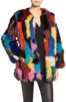 Jocelyn Marmalade Patchwork Genuine Fox Fur Coat