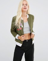 Daisy Street Bomber Jacket With Patches