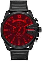 Diesel R) Crystal Mega Chief Chronograph Leather Strap Watch, 51mm x 59mm