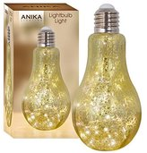 Anika 63570 Crackle Effect Bulb with 20 Battery Operated LED Lights, Glass, Transparent/Gold