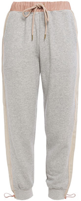 Stella McCartney Faux Leather-trimmed French Cotton-blend Terry Track Pants