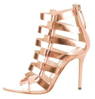 Aperlaï Leather Studded Accents Gladiator Sandals w/ Tags Metallic