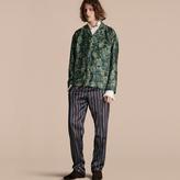 Burberry Striped Silk Cotton Pyjama-style Trousers, Blue