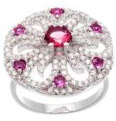 Lord & Taylor White and Fuchsia Cubic Zirconia Flower Ring